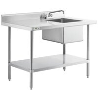 Regency 30 inch x 48 inch 16 Gauge Stainless Steel Work Table with Sink - Sink on Right