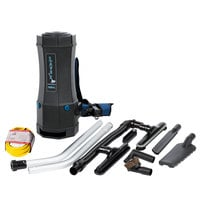 Lavex Janitorial 6 Qt. Backpack Vacuum with HEPA Filtration and 8-Piece Tool Kit