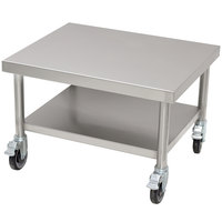Advance Tabco MT-SS-250C 25 inch x 30 inch Stainless Steel Mobile Mixer Table with Undershelf