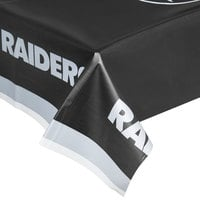 Creative Converting 729523 Las Vegas Raiders 54 inch x 102 inch Plastic Table Cover - 12/Case