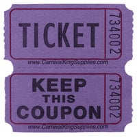 Carnival King Purple 2-Part Raffle Tickets - 2000/Roll