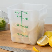 Choice 4 Qt. Translucent Square Polypropylene Food Storage Container with Green Gradations