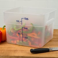 Choice 12 Qt. Translucent Square Polypropylene Food Storage Container with Blue Gradations