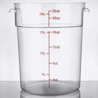 Choice 22 Qt. Clear Round Polycarbonate Food Storage Container with Red Gradations
