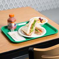 Choice 12 inch x 16 inch Green Plastic Fast Food Tray - 12/Pack