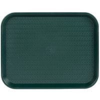 Choice 14 inch x 18 inch Forest Green Plastic Fast Food Tray - 12/Pack