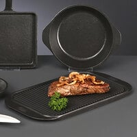 World Tableware CIS-19 11 3/4 inch x 6 1/4 inch Reversible Cast Iron Griddle and Grill Pan - 6/Case
