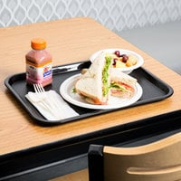 Choice 12 inch x 16 inch Black Plastic Fast Food Tray - 24/Case