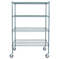 Regency 24 inch x 48 inch NSF Green Epoxy 4-Shelf Kit with 64 inch Posts and Casters