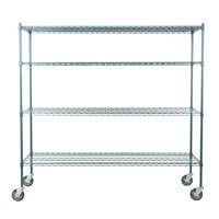 Regency 24 inch x 72 inch NSF Green Epoxy 4-Shelf Kit with 64 inch Posts and Casters