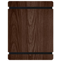 Menu Solutions WDRBB-C Walnut 8 1/2 inch x 11 inch Customizable Wood Menu Board with Rubber Band Straps