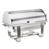 Choice Deluxe 8 Qt. Full Size Chrome Accent Roll Top Chafer