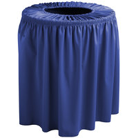 Snap Drape 5412WC35F572 Wyndham 32 Gallon Royal Blue Shirred Pleat Trash Can Cover