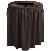 Snap Drape 5412WC44F005 Wyndham 44 Gallon Brown Shirred Pleat Trash Can Cover