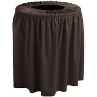 Snap Drape 5412WC35F005 Wyndham 32 Gallon Brown Shirred Pleat Trash Can Cover