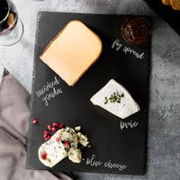 Acopa 13 1/2 inch x 10 inch Rectangular Black Slate Tray with Soapstone Chalk