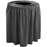 Snap Drape 5412WC35F512 Wyndham 32 Gallon Charcoal Shirred Pleat Trash Can Cover