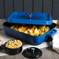 GET CA-010-CB/BK Heiss 5 Qt. Cobalt Blue Enamel Coated Cast Aluminum Roasting Pan with Lid - 12 7/8 inch x 10 7/8 inch x 2 3/4 inch