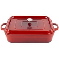 GET CA-010-R/BK Heiss 5 Qt. Red Enamel Coated Cast Aluminum Roasting Pan with Lid - 12 7/8 inch x 10 7/8 inch x 2 3/4 inch