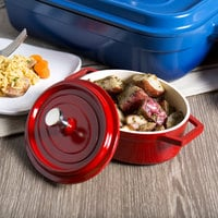 GET CA-003-RW Heiss 12 oz. Red / White Enamel Coated Cast Aluminum Mini Coated Cast Aluminum Oval Pot with Lid