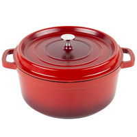 GET CA-006-R/BK Heiss 6.5 Qt. Red Enamel Coated Cast Aluminum Round Coated Cast Aluminum Dutch Oven with Lid