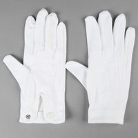 Henry Segal White Waiter's Gloves with Snap-Close Wrists - S