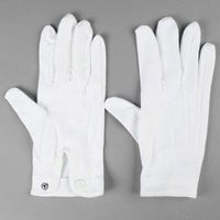 Henry Segal White Waiter's Gloves with Snap-Close Wrists - L