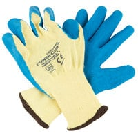 Power-Cor Yellow Kevlar® Cut Resistant Gloves with Blue Latex Palm Coating - Large - Pair