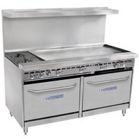 Bakers Pride Restaurant Series 60-BP-2B-G48-S26 Liquid Propane 2 Burner Range with Two Standard 26 inch Ovens and 48 inch Griddle