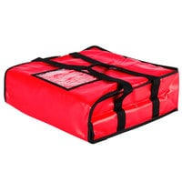 Choice Insulated Pizza Delivery Bag, Red Vinyl, 18 inch x 18 inch x 5 inch - Holds up to (2) 16 inch or (1) 18 inch Pizza Boxes