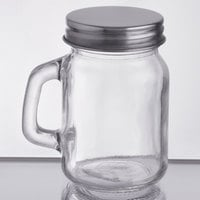 Acopa Rustic Charm 4.75 oz. Mini Mason Jar with Handle and Solid Lid - 12/Case