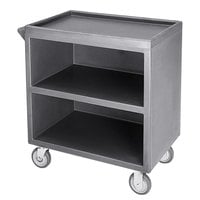 Cambro BC3304S191 Granite Gray Three Shelf Service Cart with Three Enclosed Sides - 33 1/8 inch x 20 inch x 34 5/8 inch