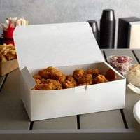 Customizable 9 inch x 5 inch x 4 1/2 inch White Take Out Dinner / Chicken Box with Tuck Top - 250/Case