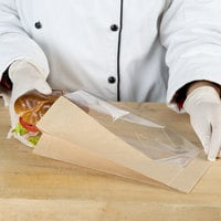 Bagcraft Packaging 300094 5 3/4 inch x 2 3/4 inch x 9 1/2 inch Dubl View ToGo! Kraft Large Window Sandwich / Bakery Bag - 500/Case