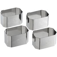 Matfer Bourgeat 376065 3 inch x 1 3/4 inch Stainless Steel Vichy Cake Ring / Ring Mold - 4/Pack
