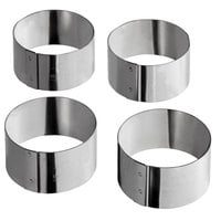 Matfer Bourgeat 375313 2 3/8 inch x 1 1/4 inch Stainless Steel Round Cake / Food Ring Mold - 4/Pack