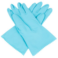 Premium 18-Mil Blue Embossed Unsupported Latex Gloves with Cotton Flock Lining - Small - Pair   - 12/Pack