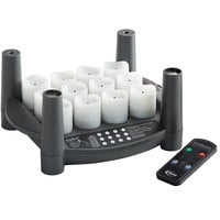 Sterno 60318 2.0 12 Piece Warm White Rechargeable Flameless Votive Set with EasyStack Charging Base and Timer with Remote