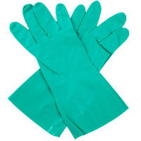 Standard 15-Mil Green Embossed Unsupported Nitrile Gloves - Medium - Pair   - 12/Pack