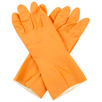 Premium 28-Mil Orange Embossed Unsupported Neoprene / Latex Gloves with Cotton Flock Lining - Extra Large - Pair   - 12/Pack