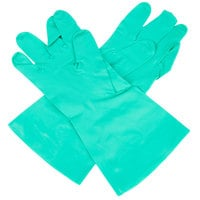 Standard 11-Mil Green Embossed Unsupported Nitrile Gloves - Large - Pair   - 12/Pack