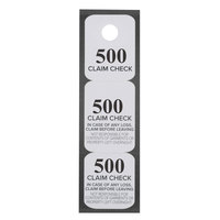 Choice Black 3 Part Paper Coat Room Check Tickets - 500/Box