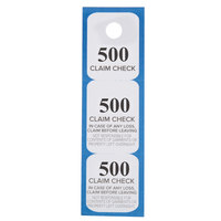 Choice Blue 3 Part Paper Coat Room Check Tickets - 500/Box