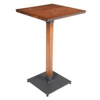 Lancaster Table & Seating 24 inch Square Antique Walnut Solid Wood Live Edge Bar Height Table