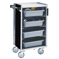 Lakeside 890B Medium-Duty Stainless Steel Enclosed Bussing Cart with Ledge Rods and Black Finish - 17 5/8 inch x 27 3/4 inch x 42 7/8 inch