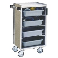 Lakeside 890BS Medium-Duty Stainless Steel Enclosed Bussing Cart with Ledge Rods and Beige Suede Finish - 17 5/8 inch x 27 3/4 inch x 42 7/8 inch