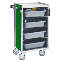 Lakeside 890G Medium-Duty Stainless Steel Enclosed Bussing Cart with Ledge Rods and Green Finish - 17 5/8 inch x 27 3/4 inch x 42 7/8 inch