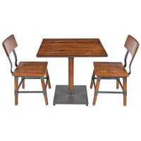 Lancaster Table & Seating 24 inch x 30 inch Antique Walnut Solid Wood Live Edge Dining Height Table with 2 Chairs