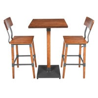 Lancaster Table & Seating 24 inch Square Antique Walnut Solid Wood Live Edge Bar Height Table with 2 Bar Chairs