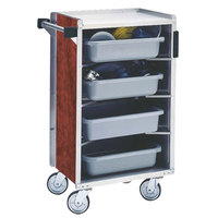Lakeside 890RM Medium-Duty Stainless Steel Enclosed Bussing Cart with Ledge Rods and Red Maple Finish - 17 5/8 inch x 27 3/4 inch x 42 7/8 inch